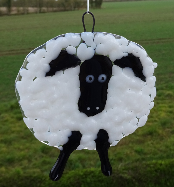 fused glass black sheep