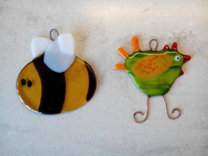 fused glass bee and hen