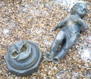lead garden statue repair 1