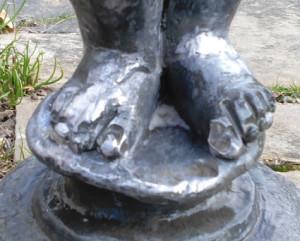 lead garden statue repair 3