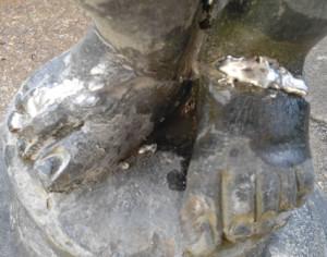 lead garden statue repair 6