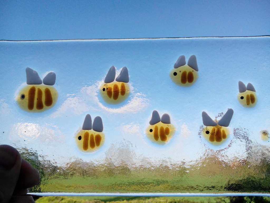 fused glass bee plate